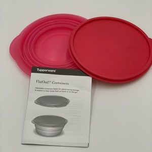 Tupperware flat out container collapsible pink new